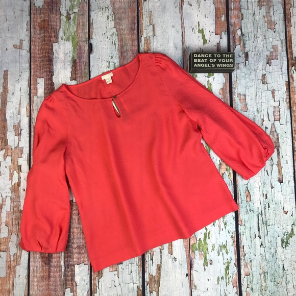 ab8e40b3e5581 J. Crew Collection Coral Puff Sleeve Blouse Plus